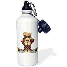 3dRose Cute Little Rag Doll With A Bow , Sports Water Bottle, 21oz, White