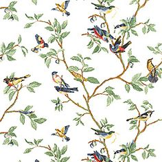 Little Bird #wallpaper in #white from the Spring Lake collection. #Thibaut