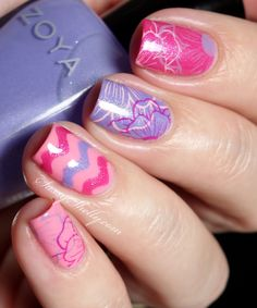 Spring Skittle Nails with the Zoya Petals collection - Winstonia Floral Stamping | Sassy Shelly #nails #nailart #floral