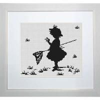 Luca-S Girl with Butterflies Counted Cross-Stitch Kit