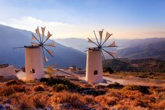 Windmills on the Mountains at Lassithi, Crete, Greece by Joe Daniel Price Crete Island, Greece Islands, Beautiful Islands, Beautiful Beaches, Holiday Places, World View, Le Moulin, Greece Travel, Santorini