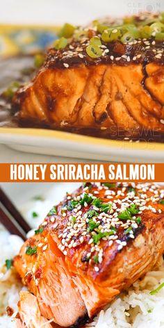Sweet & Spicy Sriracha-glazed Salmon in the Skinnytaste cookbook. Moist, juicy, and so yummy.
