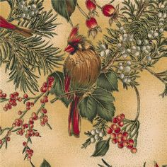 """Winter Magic H8821-33G Cream/Gold By Hoffman Fabrics: Winter Magic is a collection by Hoffman Fabrics.  100% cotton.  43/44"""" wide.  This fabric features tan cardinals on pine branches with metallic gold accents on a cream background"""