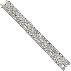 Art Deco Diamond Foliate Panel Bracelet | From a unique collection of vintage link bracelets at https://www.1stdibs.com/jewelry/bracelets/link-bracelets/
