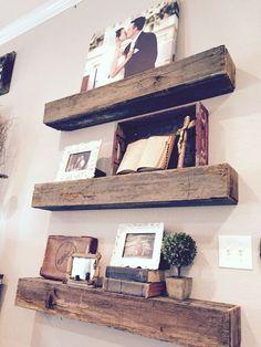 Barn wood shelves, family memories, vintage items