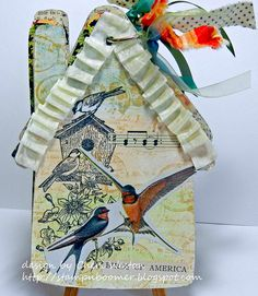 Vintage Page Designs: Altered Bird House by Cheri Weston