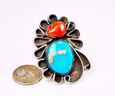 Long Navajo Sterling Silver Turquoise Coral Ring Old Large Huge Knuckle Handmade #Unknown
