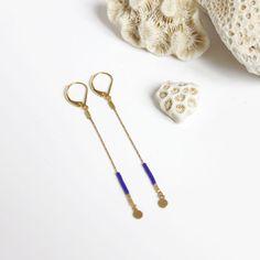 boucles d'oreilles chaîne serpentine longues, pastilles dorées et perles miyuki