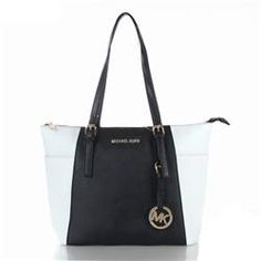 Fashionable And Popular Michael Kors Jet Set Saffiano Top zip Medium White Black Totes Is On Sale Here, Come Here To Purchase! #fashion