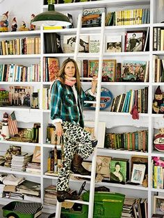 Mary Randolph Carter's floor-to-ceiling bookcase at her Hudson Valley home.
