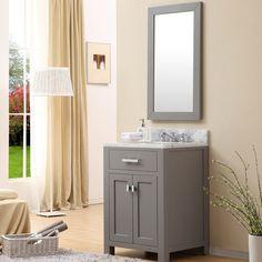 Water Creation Madison Single Sink Bathroom Vanity Set with Mirror Natural Stone Countertops, White Countertops, Countertop Backsplash, Quartz Countertops, Single Sink Bathroom Vanity, Single Vanities, Small Bathroom, Downstairs Bathroom, Bathroom Sinks