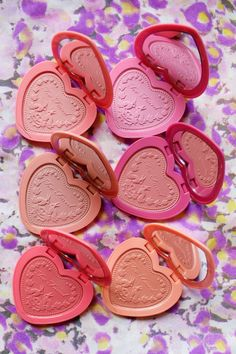 The six shades of Too Faced's new Love Flush powder blush. http://beautyeditor.ca/2015/07/28/too-faced-love-flush