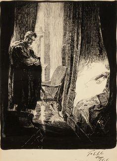 """""""Man in Bedroom""""- Joseph Clement Coll, ca. 1920"""