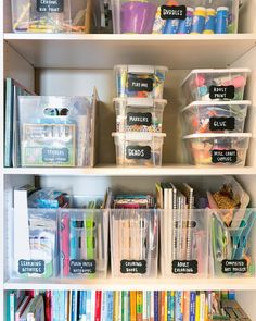 KIDS CRAFTS 🎨 Instead of stuffing supplies into drawers, sort them into containers on a shelf space! It makes it easy to categorize, see…