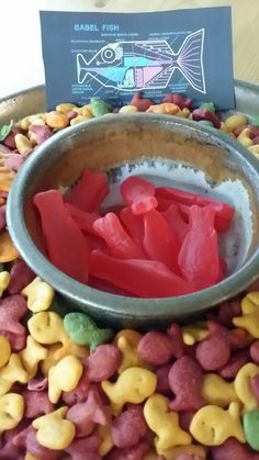 Babel fish snacks for Hitchhiker's guide to the galaxy themed party The Hitchhiker, Hitchhikers Guide, Themed Parties, Birthday Parties, It's Your Birthday, Birthday Ideas, Fish Snacks, Galaxy Crafts, Galaxy Book