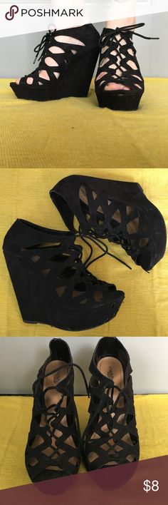 """Lace-up Wedges Black faux suede lace up Wedges. About 6"""" heel. Some wear. Size 10. Shoes Wedges"""
