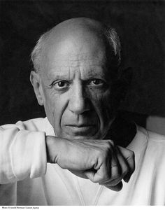 Portrait of artist Pablo Picasso June 2, 1954 in Vallauris, France /. © Arnold Newman