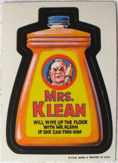 The first series of Topps Wacky Packages stickers from 1973. MRS. KLEAN