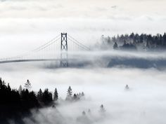 West Vancouver Fog over Stanley Park Real Estate Funds, Vancouver Skyline, Lions Gate, Most Beautiful Cities, Covered Bridges, Photo Contest, Golden Gate Bridge, British Columbia, World