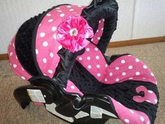 Custom boutique pink minnie mouse infant car seat cover | littlemonkeybutts - Children's on ArtFire