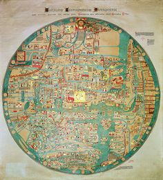 Facsimile copy of the 'Ebstorf Mappamundi', originally made for the convent at Ebstorf, near Luneberg, c.1339 but destroyed in 1943 (colour litho), / British Library, London, UK / © British Library Board. All Rights Reserved / The Bridgeman Art Library