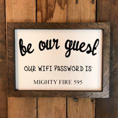 Be Our Guest Wifi Wooden Sign!! build-a-cross.com #buildacross #woodsigns #custommade #rusticdecor #rustic #vinyl #woodwork #wallart #homedecor