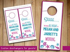 Starfish Wedding Place Cards Microsoft Word Template  Teal