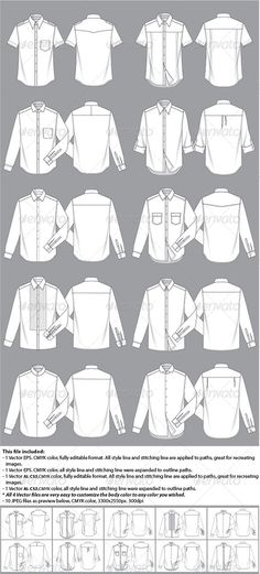 Mens Shirt Template #GraphicRiver Fully editable men's shirt fashion illustration templates. 10 different basic styles, including 2 short sleeve shirts, 8 long sleeve shirts, 10 collars and sleeve cuffs are all different. every components in this file are individual for you to easy customize your own style. There are three different types of files available. 2 Vector files, one is fully editable, another is expanded; High resolution JPEG is also provided as well. Created: 22June13…