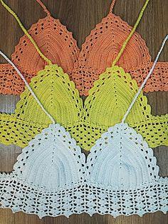Crochet Bikini Patterns Part 1 - Beautiful Crochet Patterns and Knitting Patterns Crochet Shirt, Diy Crochet, Crochet Baby, Crochet Top, Crochet Bikini Pattern, Crochet Bikini Top, Knitting Patterns, Crochet Patterns, Crochet Woman