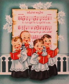 #1098 50s Cute Singing Choir-Altar Boys-Vintage Christmas Card-Greeting