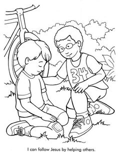 helping others sunday schoo coloring page fromthru the bible coloring pages for ages
