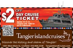 Take a mini vacation cruise with Tangier Island Cruises. Discover the history and charm of Tangier aboard the Steven Thomas. With your Frugals coupon, take $2 off a Day Cruise Ticket, http://www.frugals.biz/ Cruises leave daily out of Crisfield, MD. Learn more about Tangier Island Cruises at http://www.tangierislandcruises.com/