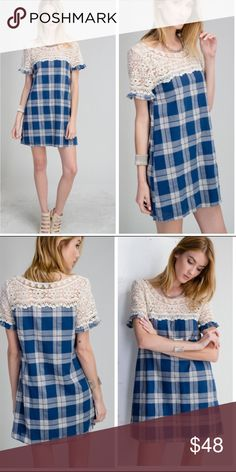 •plaid and lace dress• Dress features plaid button with lace accent top and lace sleeves. Material is 100% cotton and is fully lined. Small bust about 36 inches, medium 38, large 40. Length about 33 inches long ❌PRICE FIRM UNLESS BUNDLED❌ Dresses Mini