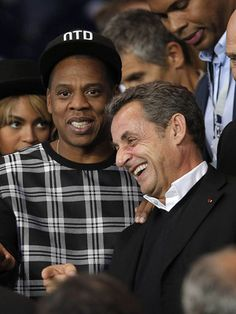 Nicolas Sarkozy sympathise avec Jay Z, Beyoncé et David Beckha. Jay Z, David Beckham, Psg, Beyonce, Nicolas Sarkozy, Mardi, Champions, People, Couple Photos