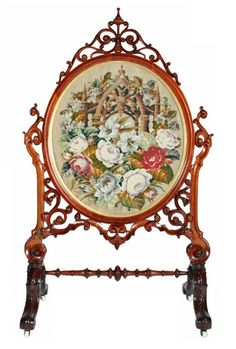 Mid-19th century walnut tapestry fire screen.