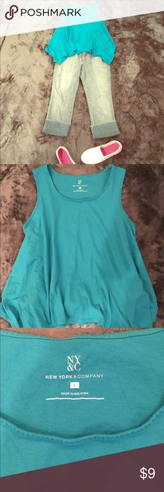 Cute teal tank top with handkerchief hem Teal blue handkerchief hem tank top, size large, capris in picture available in another listing, good condition and gently used. NY&C Tops Tank Tops