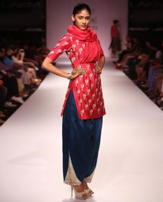 Cranberry Red Kurta Set with Bird Motifs by Payal Singhal