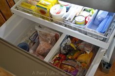 Freezer Zones {A Pretty Life} - I've looked everywhere for ideas on how to organize my bottom freezer - definitely need to go clean mine out now!