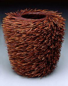 Christine Love Adcock, Artist,Tall Lecheguilla, coiled basket of dyed and natural lecheguilla fiber,