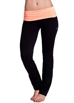 cool Ladies Neon Orange Fold-Over Waist Full Length Black Yoga Pants