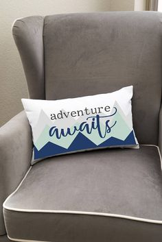 Throw Pillow Cover - Adventure Awaits This decorative throw pillow cover is the perfect addition for your adventure-themed nursery or kids room. This throw pillow cover has grey lettering and comes in two accent colors: Mint or Coral.