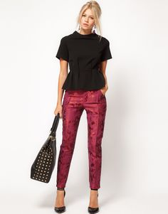 ASOS Floral Jacquard Pants, Black Peplum Top