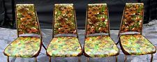 Vintage Chairs Vinyl Kitchen Dining Room Orange Yellow Flowers 1960s Set of 4