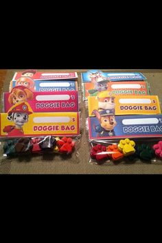 Paw patrol inspired crayon favors, set of 8 doggie bags $14