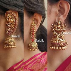 Decorative Earring Collections From Daivik Indian Jewelry Earrings, Gold Jhumka Earrings, Jewelry Design Earrings, Gold Earrings Designs, Indian Jewelry Sets, India Jewelry, Antique Earrings, Antique Jewellery Designs, Fancy Jewellery