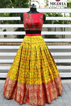 Here is a loud shout! your favorite croptops collection is back. We can customize the color and size as per your requirement. To Order… Half Saree Designs, Lehenga Designs, Saree Blouse Designs, Half Saree Lehenga, Lehnga Dress, Banarasi Lehenga, Lehenga Choli Latest, Bandhani Dress, Lehenga Skirt