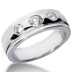 Herren Diamantring mit 0.75 Karat Diamanten aus 585er Weißgold