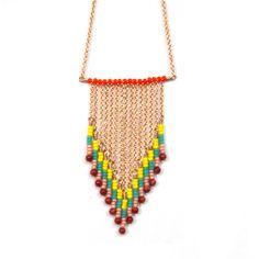 Beaded Pattern Necklace Yellow
