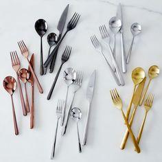 Italian Flatware, Linea Flatware Place Setting) on Kitchen Utensils, Kitchen Knives, Copper Utensils, Gold Plastic Plates, Wicker Furniture, Wicker Dresser, Wicker Mirror, Wicker Shelf, Wicker Baskets