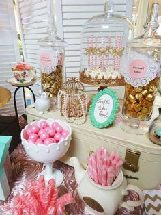 Shabby Chic Tea Party Candy Buffet | CatchMyParty.com